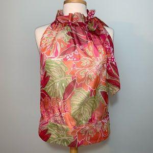 Etcetera pink/orange ruffle neck sleeveless blouse